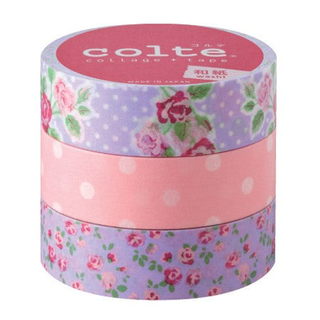 Masking tape 15 mm - Rose pink - set van 3
