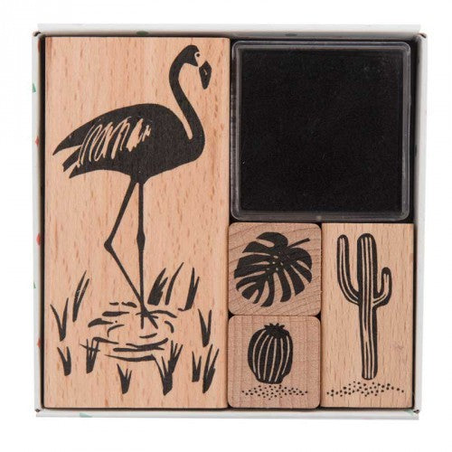 Stempelset - Tropical spring: flamingo - set van 4