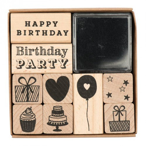 Stempelset - Happy birthday - set van 6