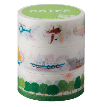 Masking tape 20mm - Te land, ter zee en in de lucht - set van 2
