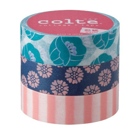 Masking tape 15mm - Tulip Blue - set van 3