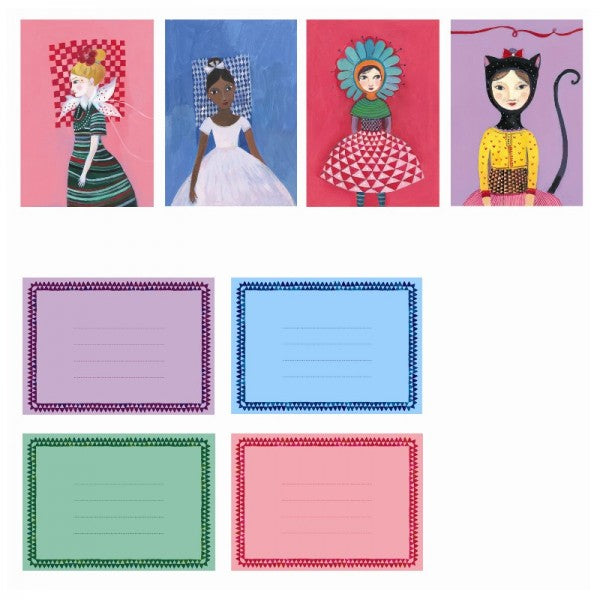 Uitnodigingen - Djeco - Pretty ladies invitation - set van 8