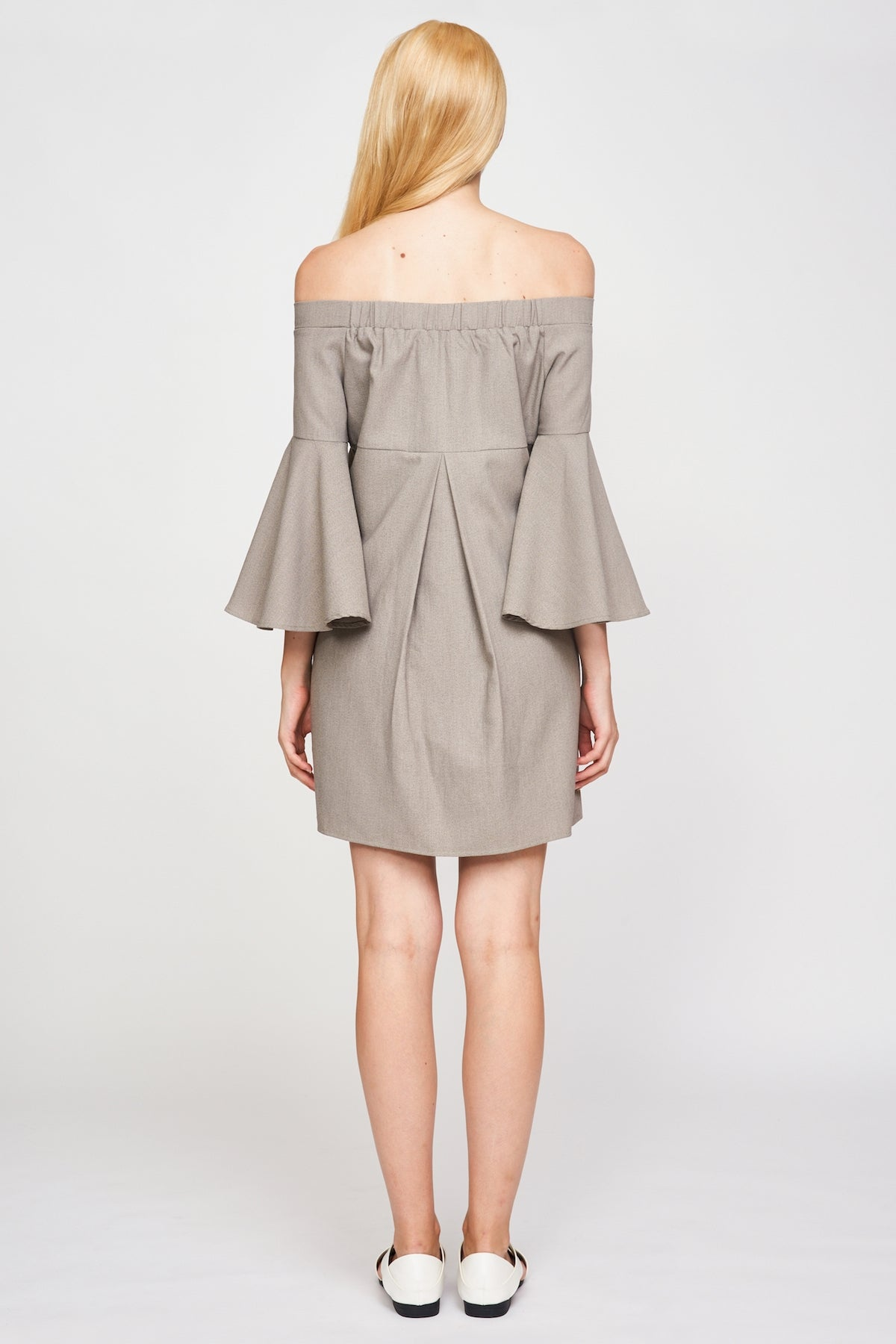 Off Shoulder Bell Sleeve Dress In Taupe