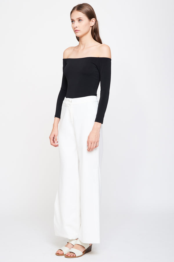 Side Slit Wide Leg Trousers In White