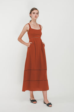 Eyelet Tiered A-Line Maxi Dress In Burnt Orange
