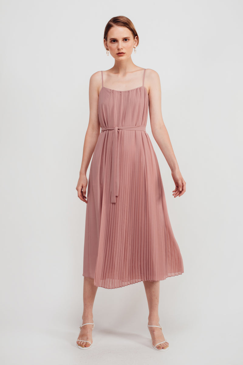Half Pleated Midi Dress In Mauve Pink