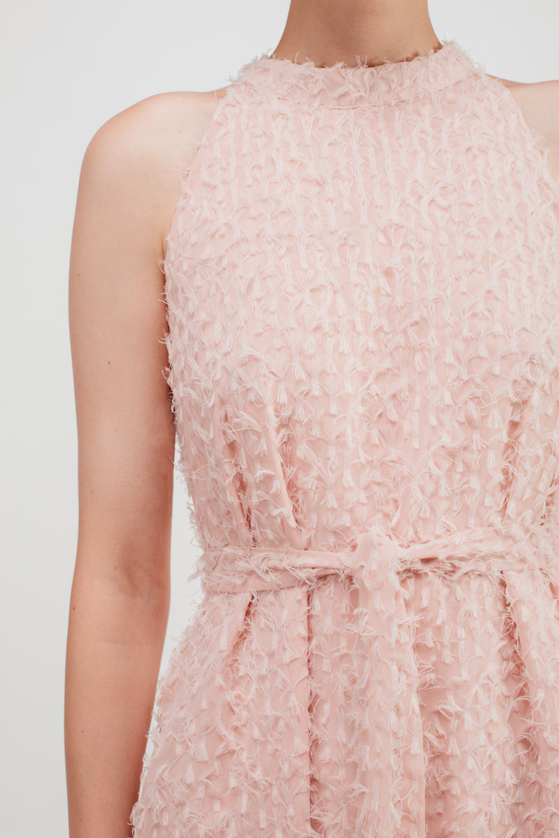 Feathered Fluff Halter Neck Maxi Dress In Pink
