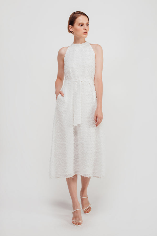 Feathered Fluff Halter Neck Maxi Dress In White