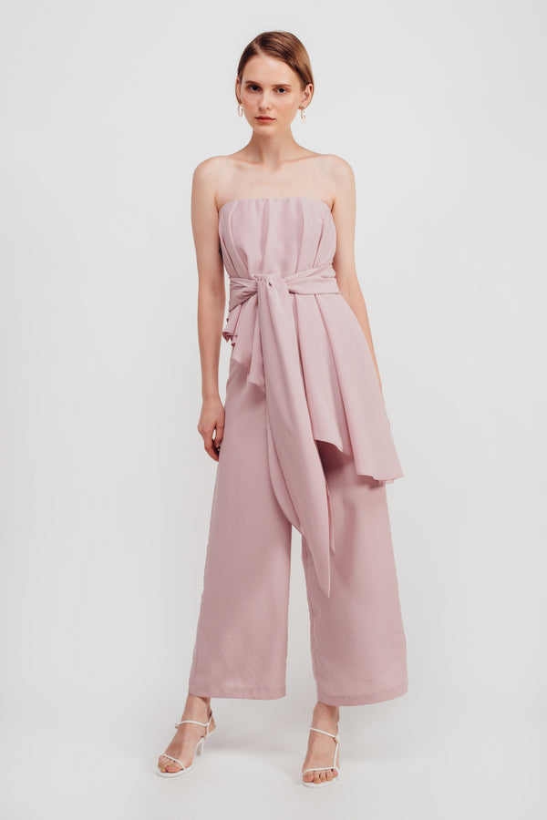 Staggered Ruffles Tube Jumpsuit In Blush Pink