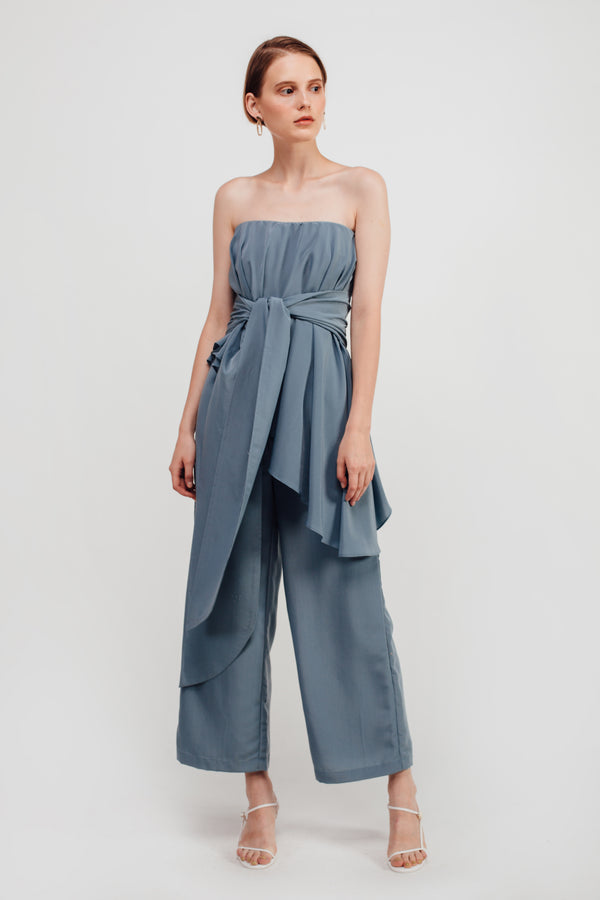 Staggered Ruffles Tube Jumpsuit In Dusty Blue