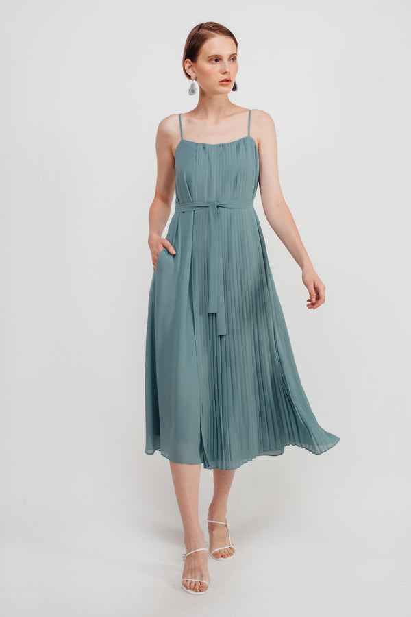 Half Pleated Midi Dress In Aqua Blue
