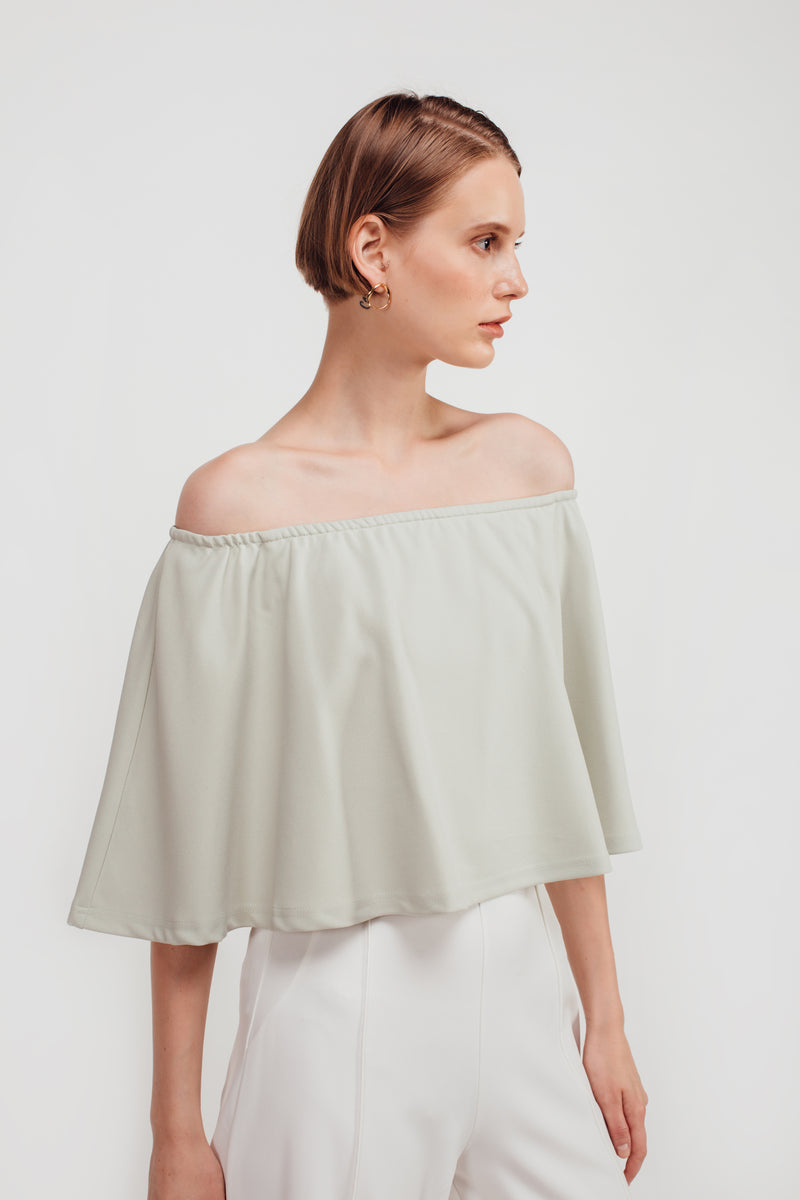 Classic Off Shoulder Top In Dusty Green