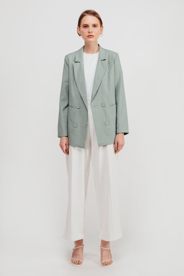 Pinstripe Blazer In Sage Green