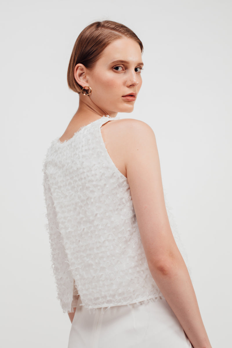 Feathered Fluff Overlap Back Tank In White