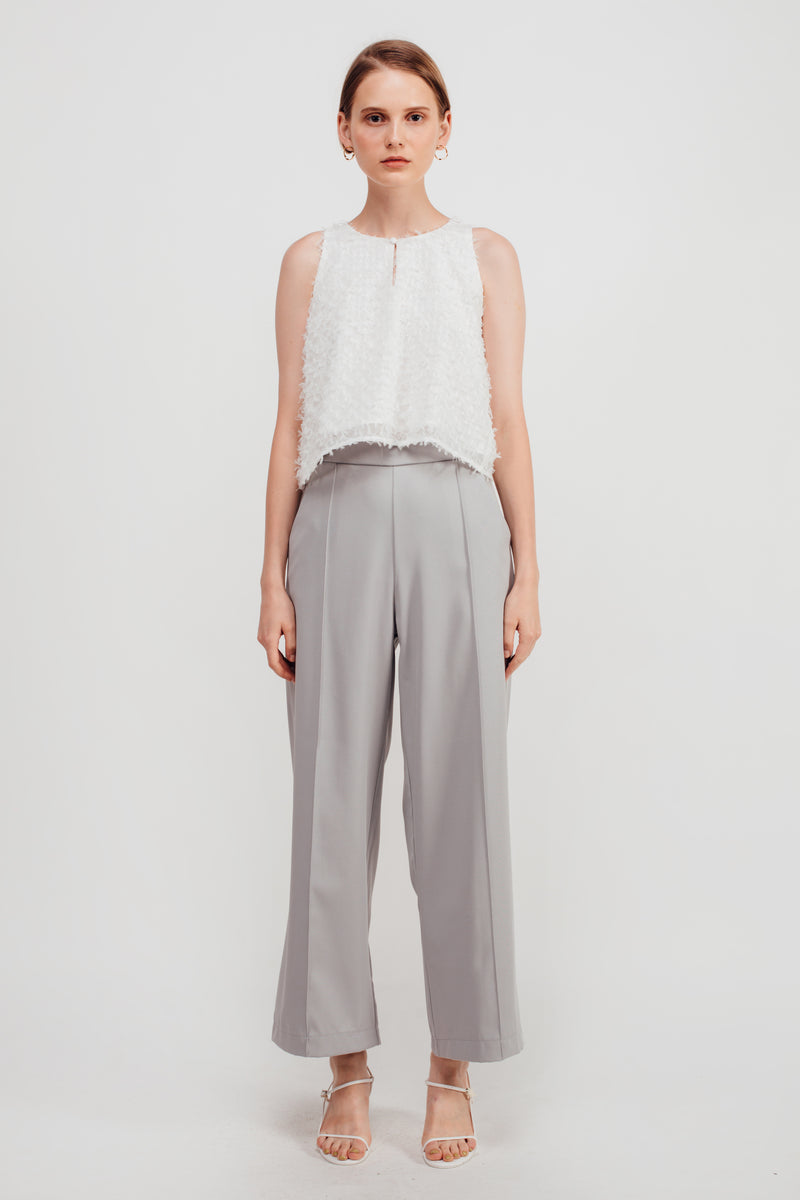 High Waisted Wide Legged Trousers w Foldlines In Stone Blue