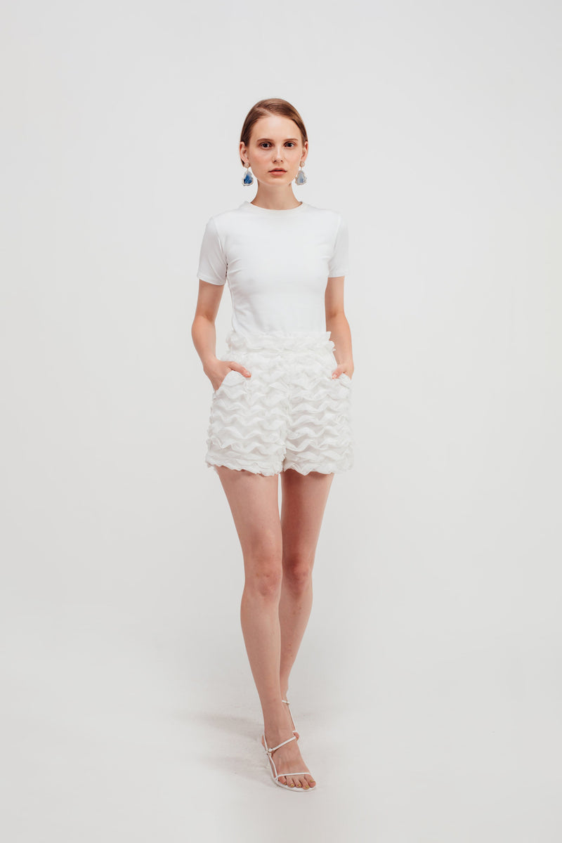 Wave Textured Shorts in White