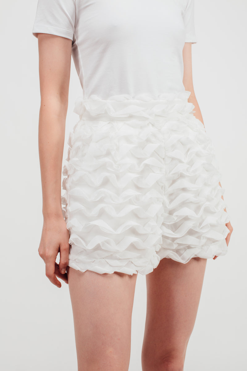 Puffy Wave Textured High Waisted Shorts In White