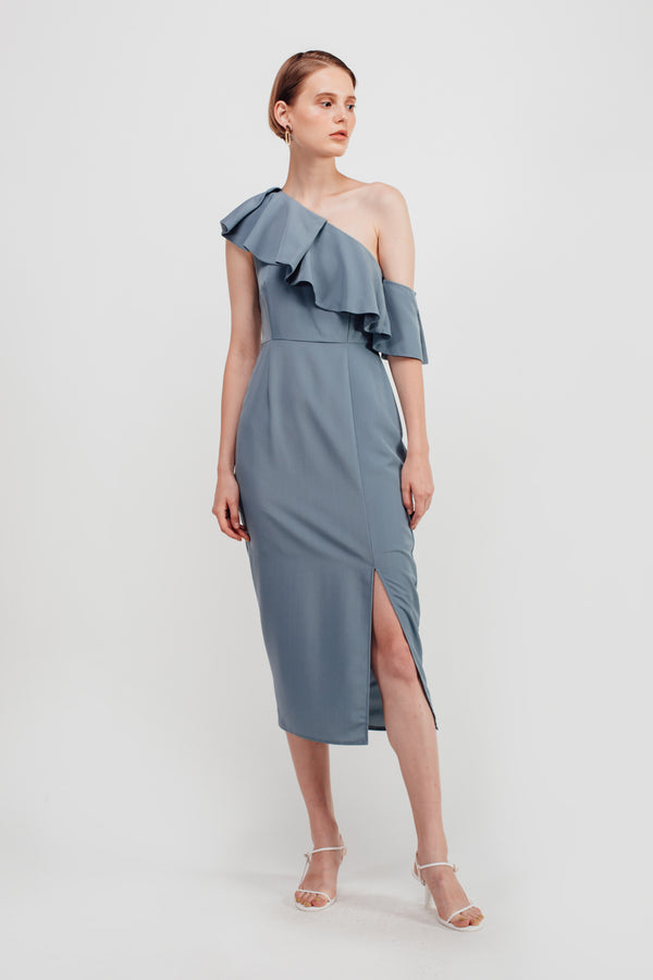 Slant Ruffles Off Shoulder Midi Dress In Dusty Blue
