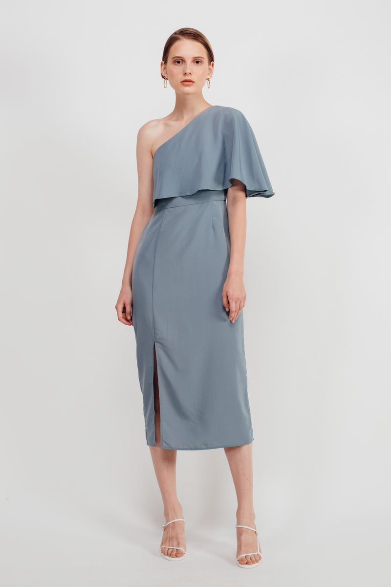 Asymmetrical Toga Midi Dress In Dusty Blue