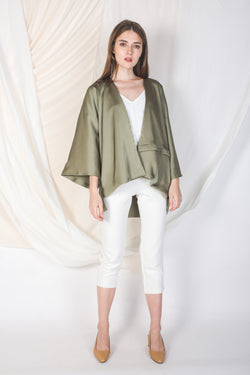 Two Way Silky Kimono in Olive