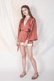 Two Way Silky Kimono in Blush Gold