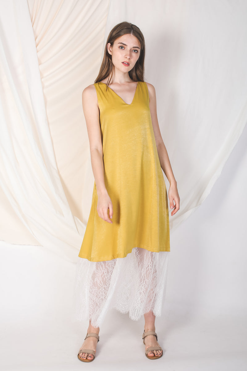 Reversible Lace Panel Silky Maxi Dress in Yellow -Sale