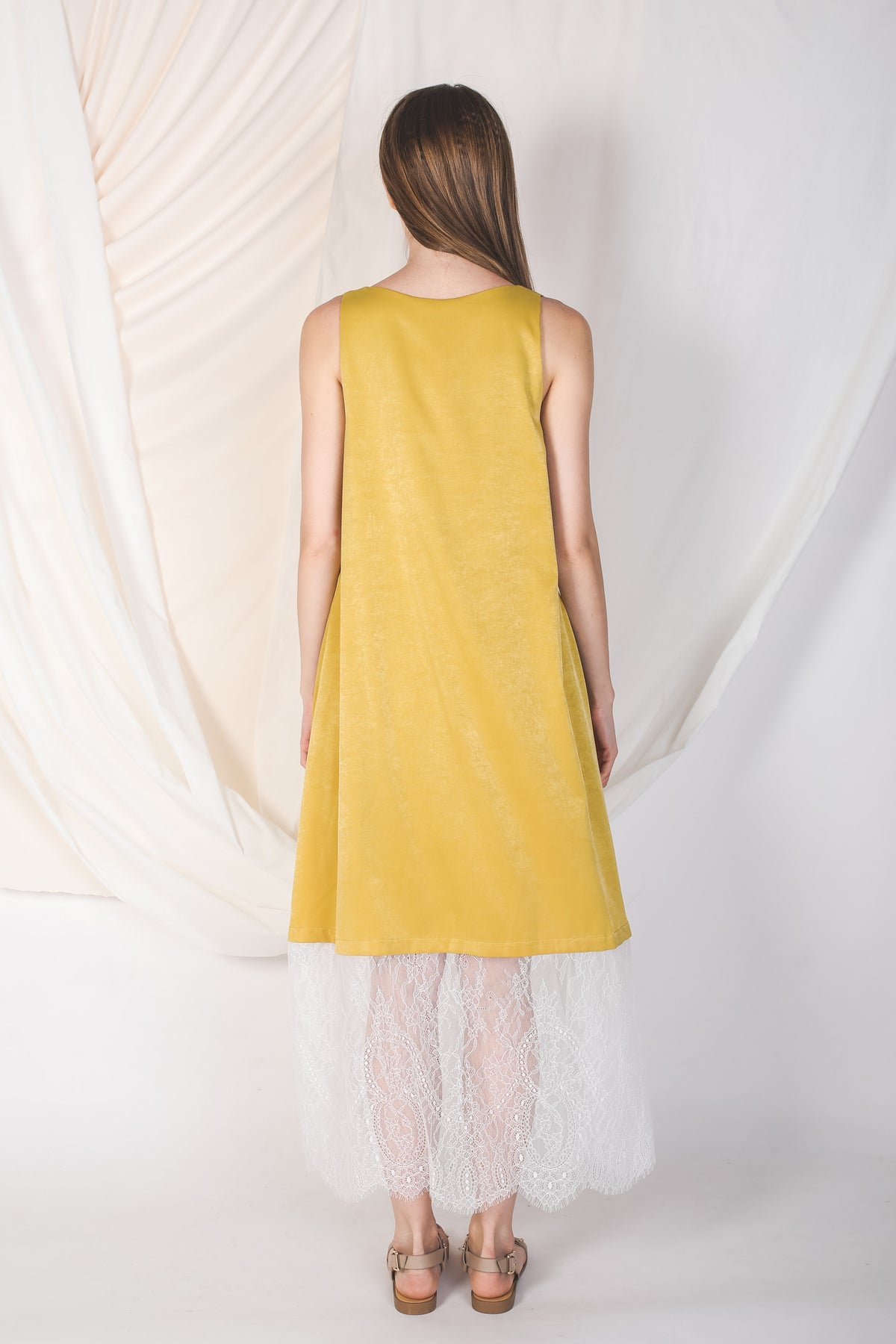 Reversible Lace Panel Silky Maxi Dress in Yellow