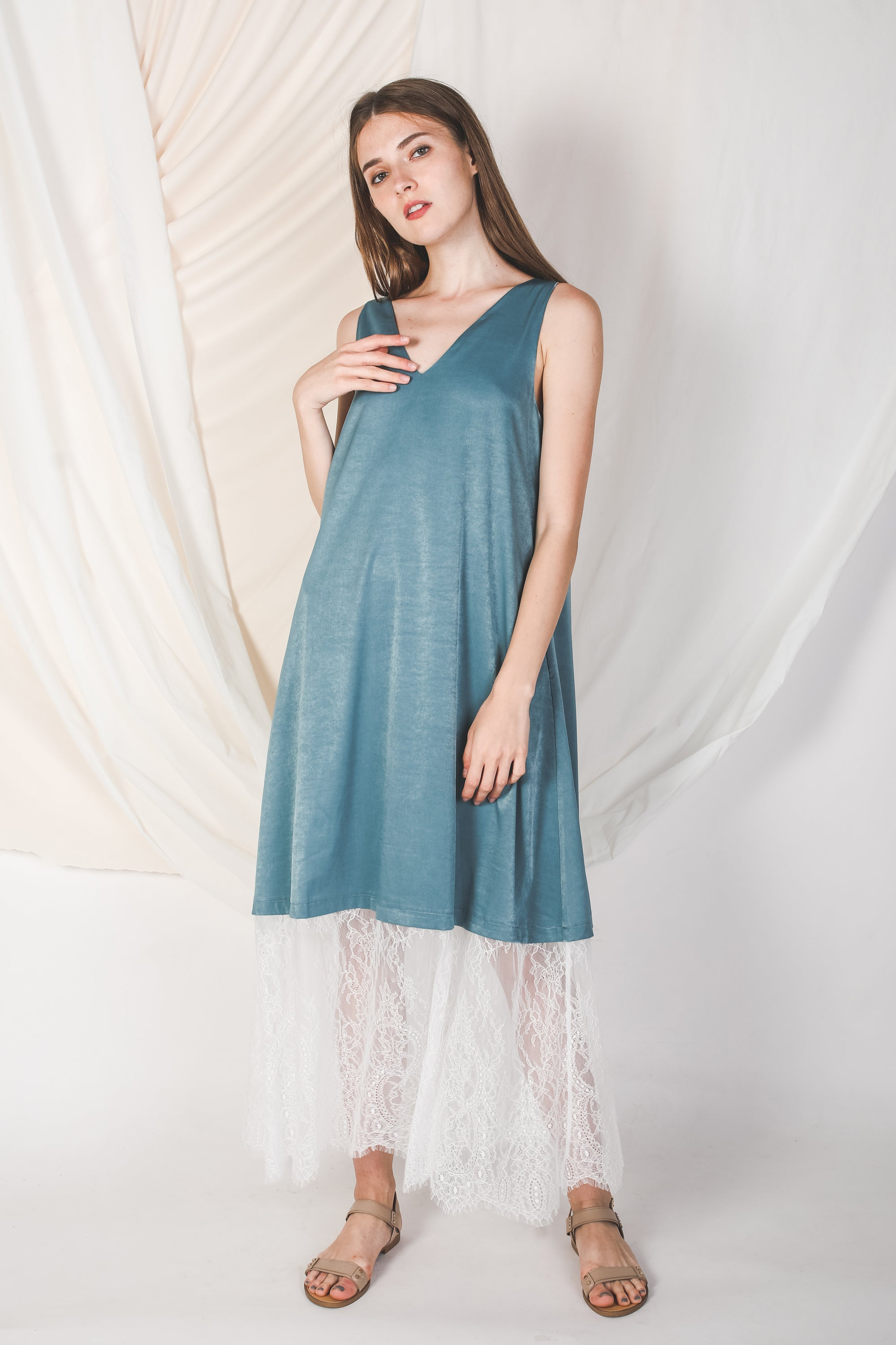 Reversible Lace Panel Silky Maxi Dress in Blue