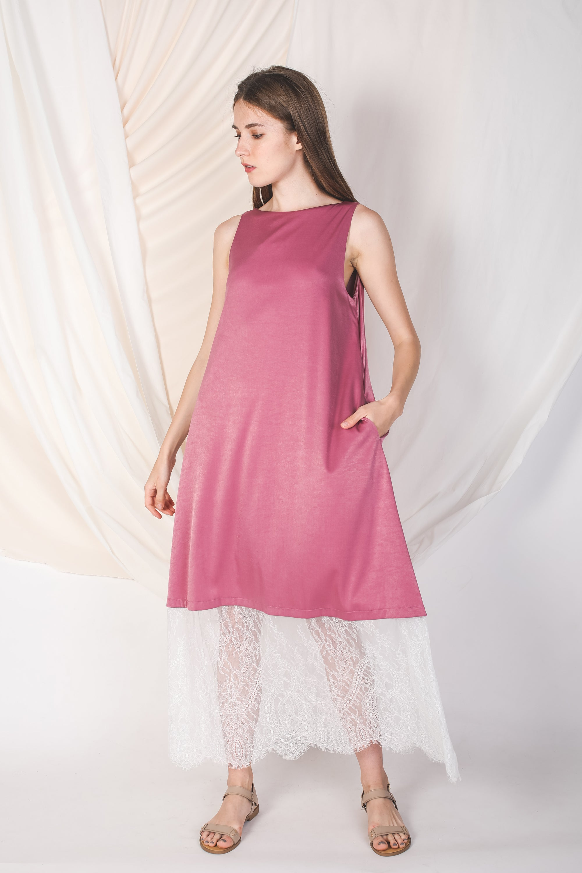 Reversible Lace Panel Silky Maxi Dress in Pink