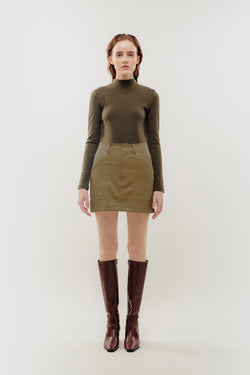 Faux Leather Mini Skirt in Khaki
