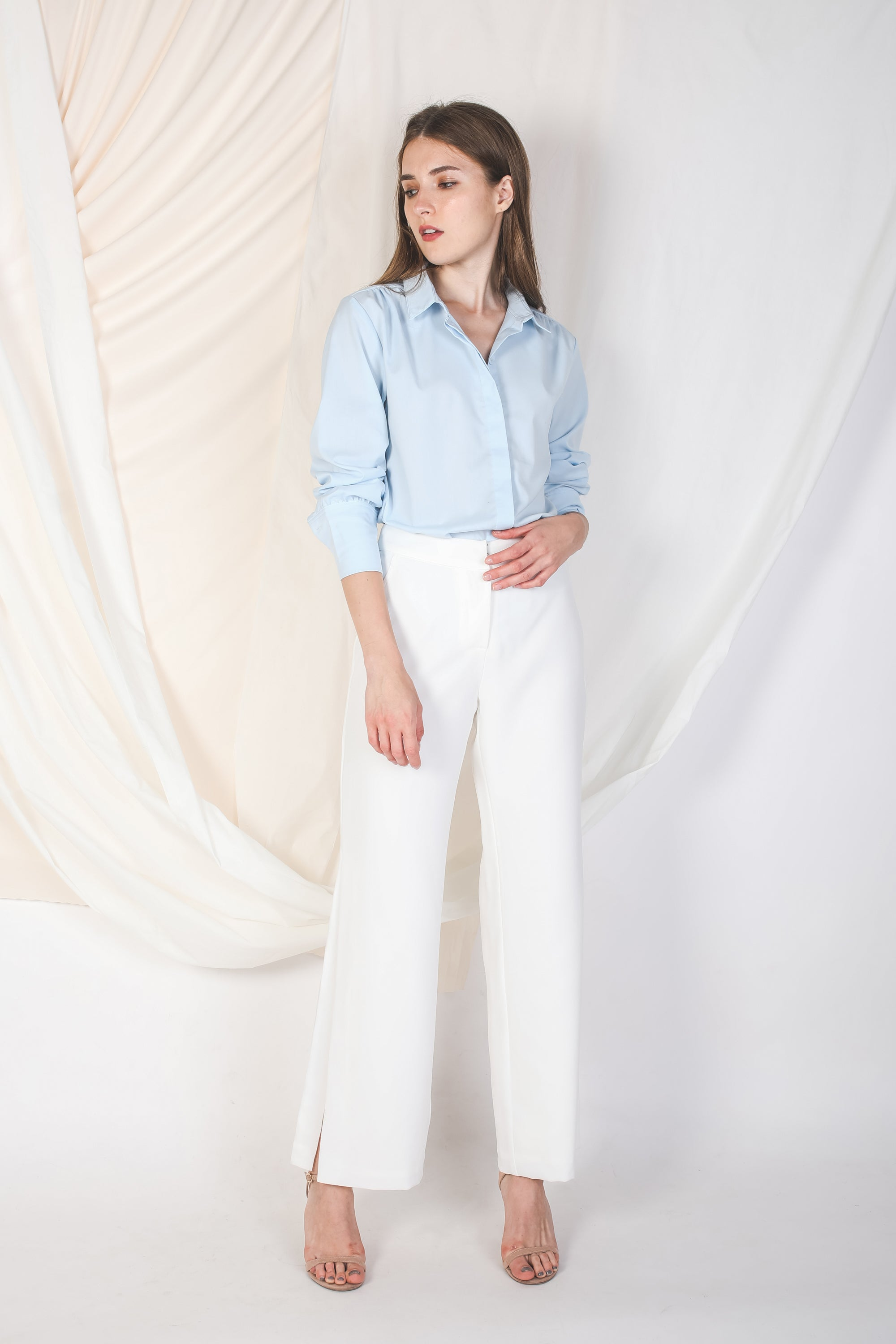 Cuffed Sleeve Shirt In Powder Blue