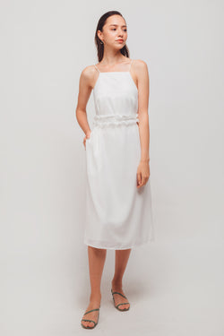 Straight Neckline Midi Dress With Ruffled Sash In White