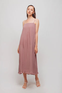 Pleated Midi Dress In Mauve Pink