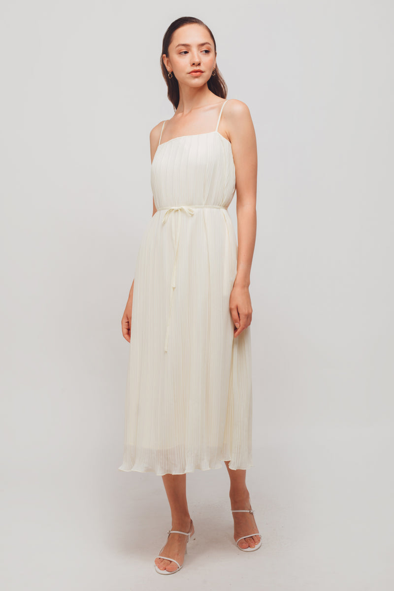 Pleated Midi Dress In Cream