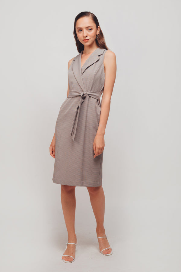 Checkered Sleeveless Wrap Midi Dress In Coffee