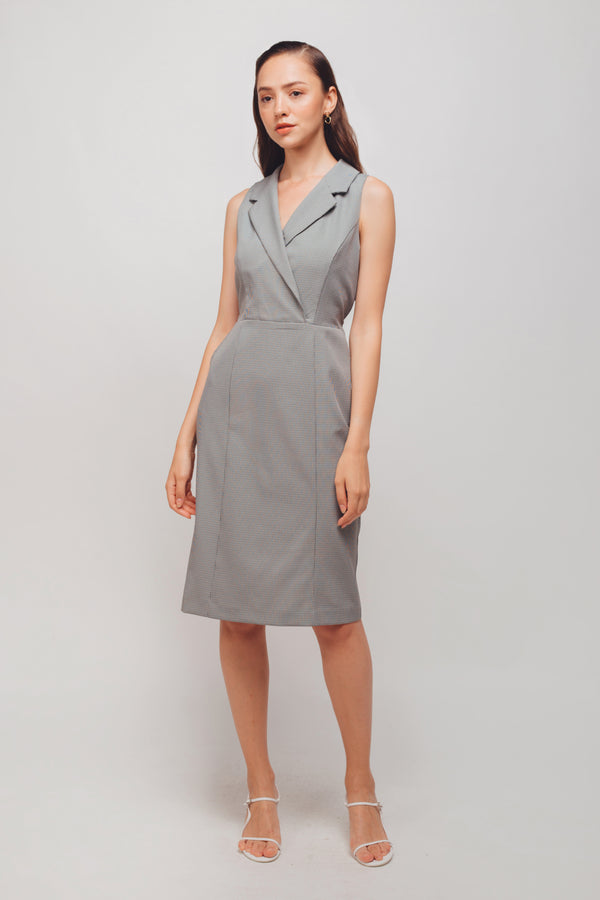 Checkered Sleeveless Wrap Midi Dress In Moss Green