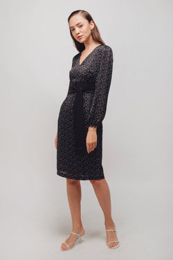 Polka Dot Balloon Sleeves Midi Dress In Black