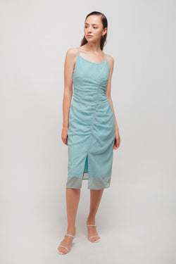 Ruched Midi Dress With Front Slit In Mint Polka Dot