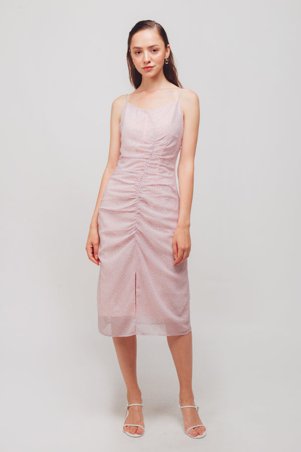 Ruched Midi Dress With Front Slit In Pink Polka Dot