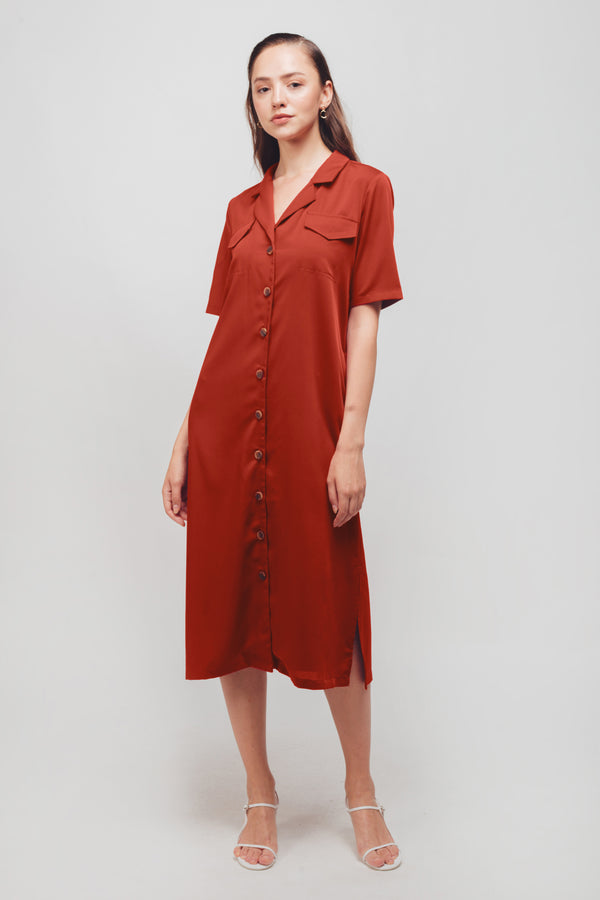Button Down Midi Dress With Sash In Burnt Orange
