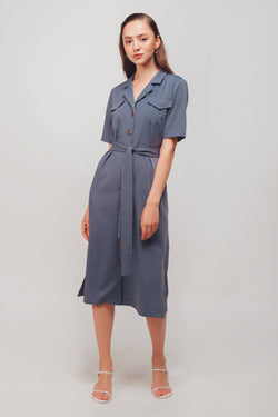 Button Down Midi Dress With Sash In Steel Blue