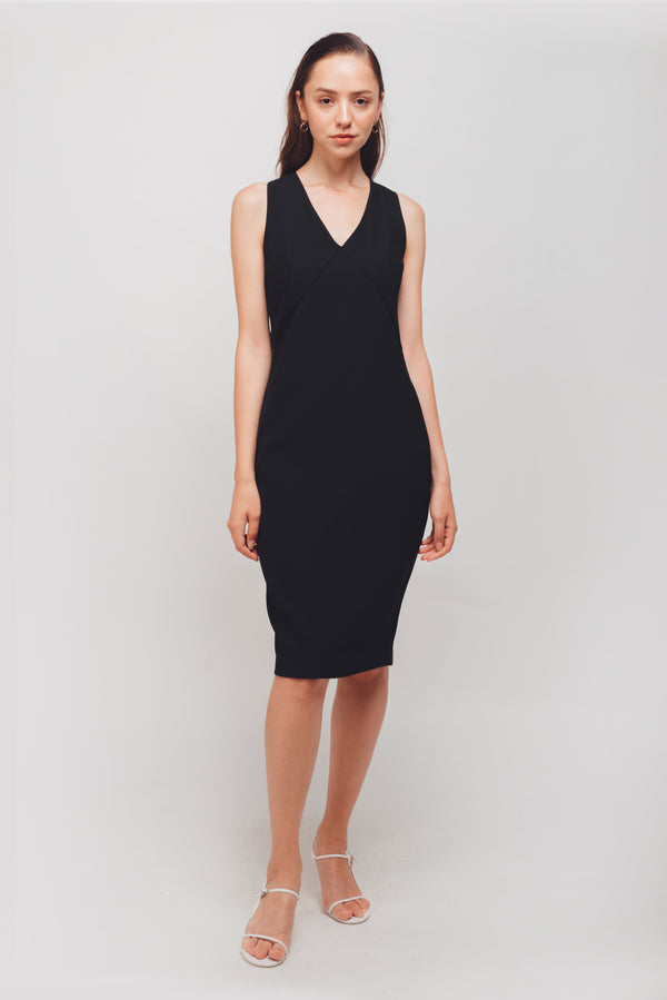 Inverted V Stitchline Sleeveless Midi Dress In Black