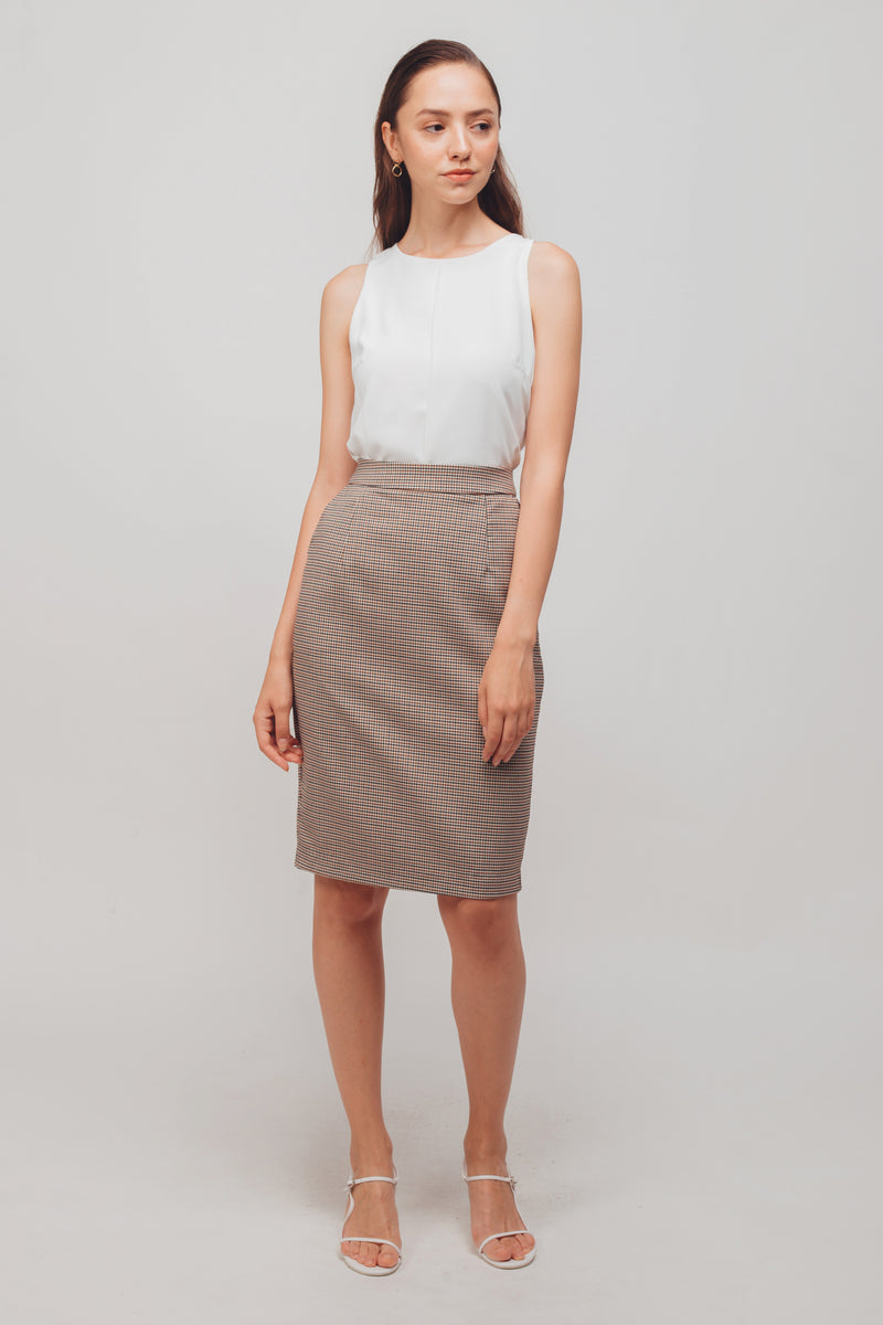 Straight Midi Skirt In Checkered