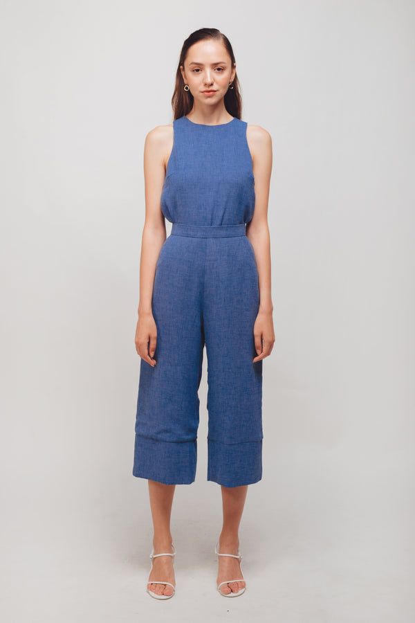 Textured Culottes With Hem Detailing In Periwinkle Blue