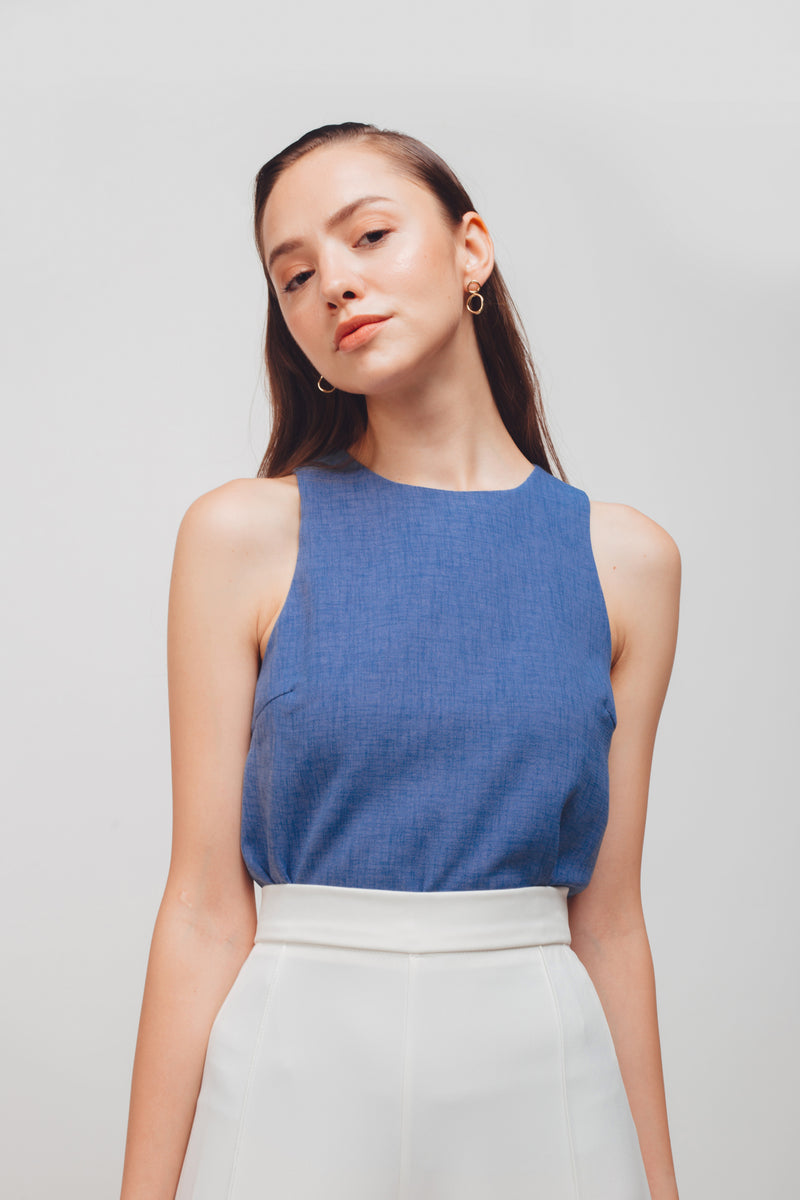 Textured Tank Top With Curved Hem In Periwinkle Blue