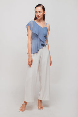 Asymmetrical Ruffled Sleeves Crop Top In Ocean Blue