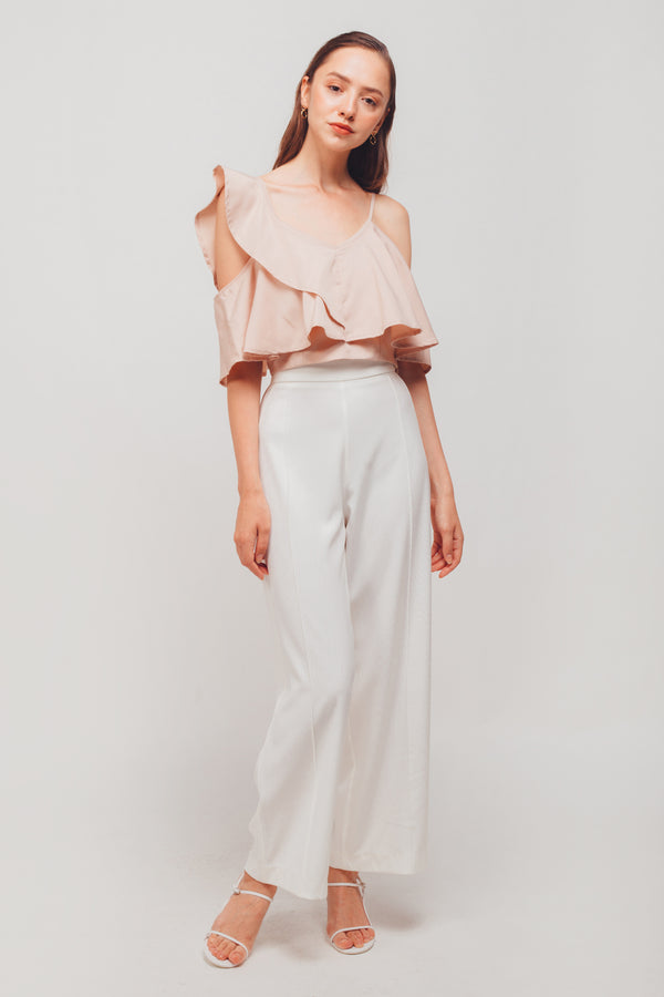 Asymmetrical Off-shoulder Flutter Sleeves Top In Blush Pink