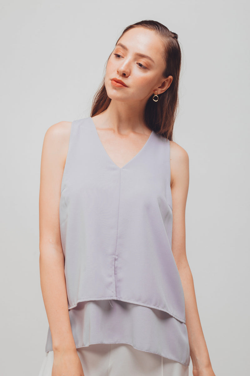 V-Neck Sleeveless Layered Blouse In Powder Blue