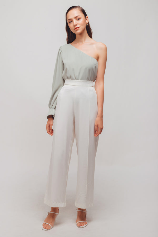 Asymmetrical Long Sleeves Puffed Toga Top In Powdered Green