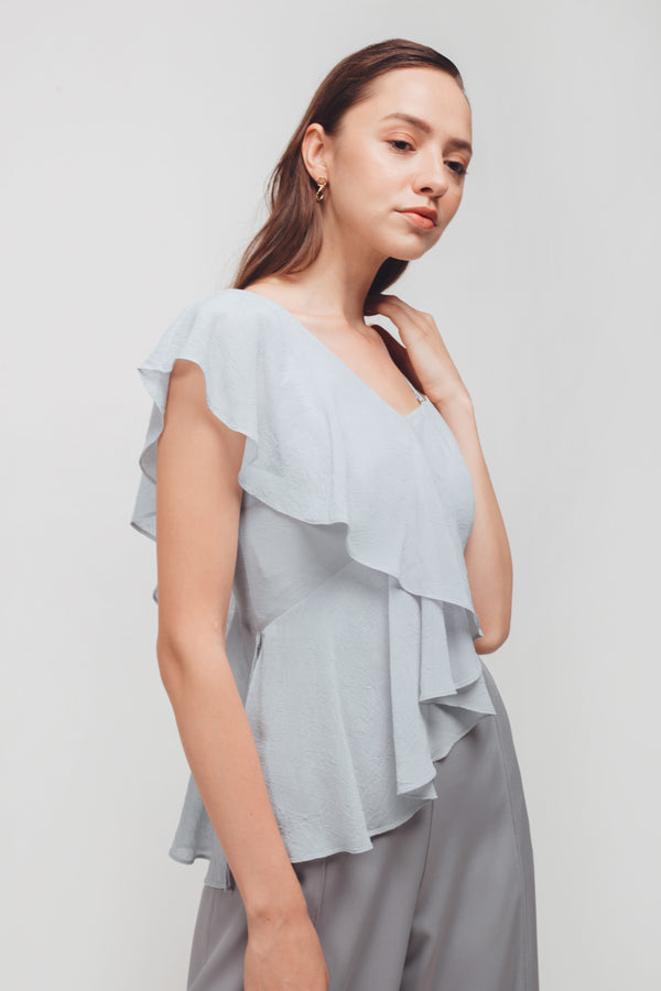 Asymmetrical Ruffled Sleeves Crop Top In Powder Blue